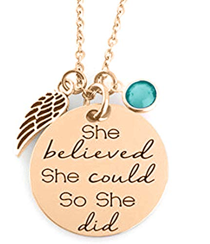 - 'SHE Believed SHE Could SO SHE DID' Inspirational Positive Message Mantra Pendant Angel Bird Wing Charm Necklace (Rose Gold & Teal -