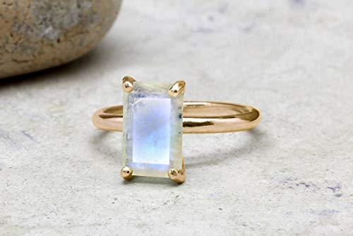 Moonstone Rose Ring - Anemone Unique Moonstone Ring 14K Rose Gold - Genuine Rose Gold Stacking Ring with Different Sizes for Women - Elegant Moonstone Rainbow 3.87 Carats Ring for Inner Strength