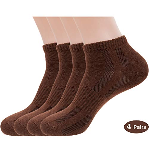 Mens Sports Low Cut Ankle Socks, Cotton & Pearl-Fiber Diabetic Socks Odor-Control Moisture-Wicking for Sweaty Feet (4 Pack)
