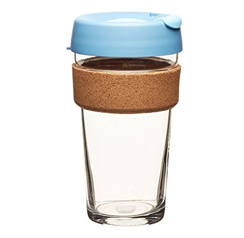 KeepCup 16oz Reusable Coffee Cup. Toughened Glass Cup & Natural Cork Band. 16-Ounce/Large, Rock Salt