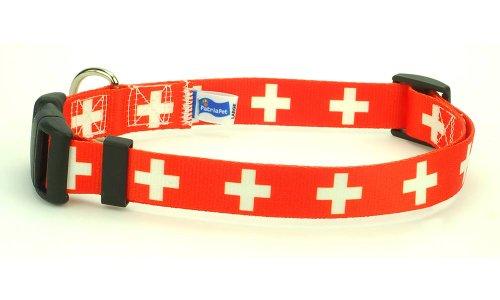 Collar Swiss - Switzerland Swiss Flag Dog Collar for Large Dogs