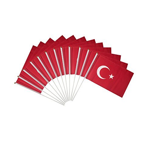 Turkey Polyester Country Flags Desk Outside Waving Parade Turkish (12-Pack Hand Flag)