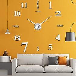 Aililife 3D DIY Wall Clock Decor Sticker Mirror Frameless Large DIY Wall Clock Kit for Home Living Room Bedroom Office Decoration