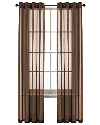 GoodGram 2 Pack Ultra Luxurious High Woven Elegant Sheer Grommet Curtain Panels - Assorted Colors (Chocolate Cake) (Sheer Brown Curtains)