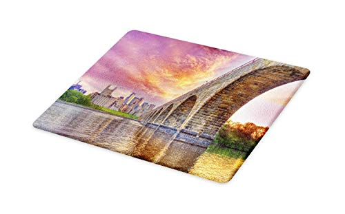 - Ambesonne Minnesota Cutting Board, Stained Abutments of Historical Stone Arch Bridge Crossing the Mississippi River, Decorative Tempered Glass Cutting and Serving Board, Large Size, Multicolor