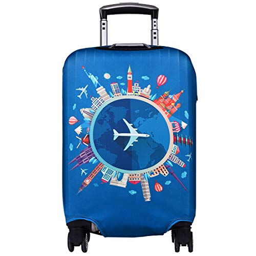 Travel Luggage Cover Anti-scratch Baggage Suitcase Protector Cover Fits 18-32 Inch 3D Colorful Pattern(Airplane)