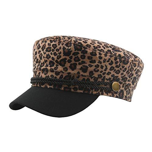 (GREFER Women's Leopard Print Beret Hat Casual Retro Flat Top Navy Cap)