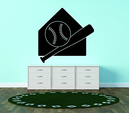 Wall Decal Sale : Playing Field Base Baseball And Bat Boys Bedroom Sport Design Size: 12 Inches X 18 Inches - 22 Colors Available