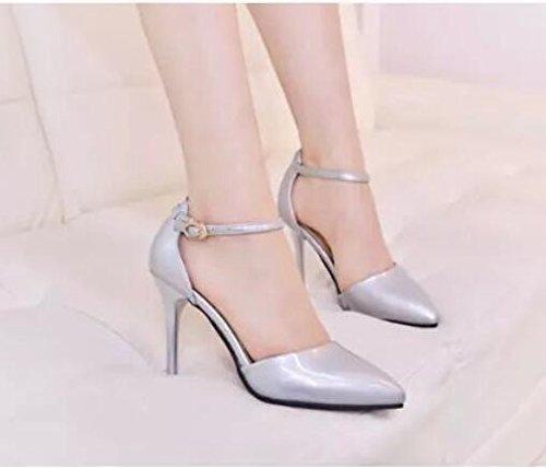 Treinta de para y pieles Nuevas zapatos Zapatos cuatro Hebillas cachemira altos Primavera de tacones profesionales mujeres KHSKX con individuales individuales plata y AqaWRzHxxw