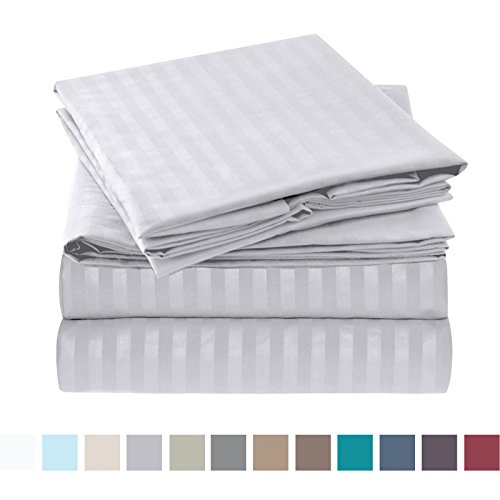 Nestl Bedding Bed Sheet Set - Damask Stripes - Soft Brushed