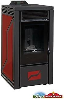 BRONPI Estufa de pellets 16 kW Mod.Leticia Color Negro y Burdeos
