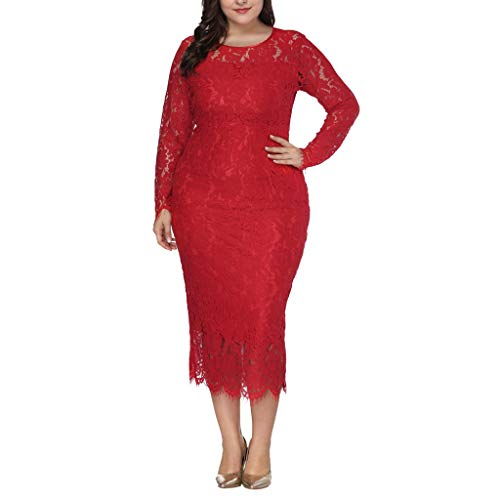 Toimothcn Women Plus Size Lace Bodycon Warp Dress Vintage Floral Cocktail Formal Swing Dress Oversize (Red,XL) -