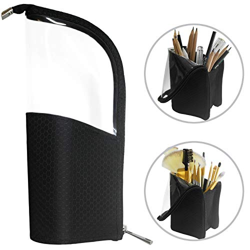 Black Travel Makeup Brush Holder, ANEMEL Pencil Pen Case Organizer Bag Clear Plastic Cosmetic Zipper Pouch Portable Waterproof Dust-Free Stand-Up Small Toiletry Stationery Bag with Divider (Best Travel Size Makeup Brushes)
