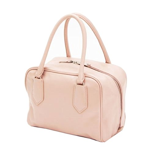 Prada Soft Beige Pink Calf Leather Inside Bauletto Designer Handbag for Women 1BB010