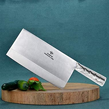 "KODENIPR CLUB Aurum Creations Big Vegetable Meat Cutter Cleaver Chopping Knife Chef Butcher Multipurpose Use for Home Kitchen or Restaurant 8''/3.5"" (Steel Handle) 6"