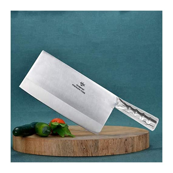 "KODENIPR CLUB Aurum Creations Big Vegetable Meat Cutter Cleaver Chopping Knife Chef Butcher Multipurpose Use for Home Kitchen or Restaurant 8''/3.5"" (Steel Handle) 2"