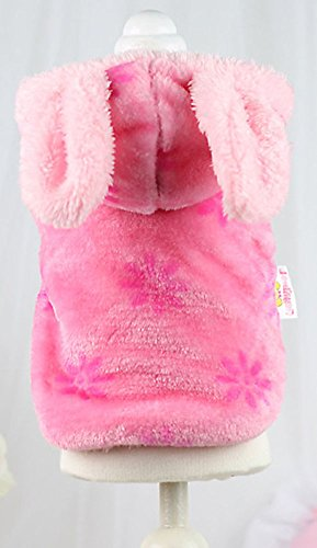 MaruPet Dog Sugar-loaf Warm Popular Flannel Cloth Very Soft Cute The Latest Version Pet Cloth Printing Little Rabbit Thicken Sweet Pink L