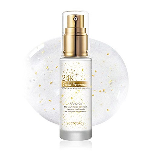 Secret Key - 24K Gold Premium First Serum - Gesichtsserum mit Gold, Vitamine, Kaviar, Hyaluronsäure, Adenosin, EGF und Royal Jelly gegen Falten und trockene Haut mit Whitening Effekt für Frauen und Männer - Hautpflege auch für Mischhaut und fettige Haut - Tagespflege - Nachtpflege
