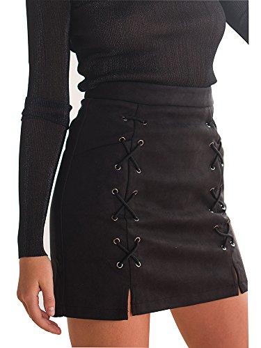RUIGO Women's High-waisted Boho Retro Embroider Print Suede Wrap Skirt Midiskirt (M, Black)
