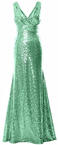MACloth Women Straps V Neck Sequin Long Prom Dress 2017 Maxi Bridesmaid Gown (22w, Mint) (Plus Size 90s Fancy Dress)