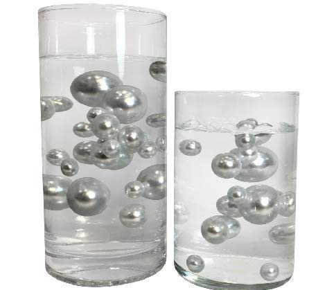 2 Packs Sale Floating NO Hole White Pearls - Jumbo/Assorted Sizes Vase Decorations + Includes Transparent Water Gels for Floating The Pearls