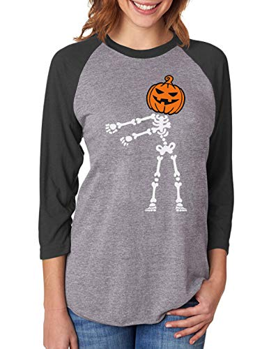 (Floss Dance Pumpkin Skeleton Halloween 3/4 Women Sleeve Baseball Jersey Shirt Large)