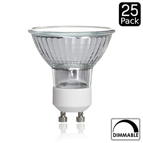 Luxrite LR20490 (25 Pack) 35W/GU10/120V 35 Watt MR16 Halogen Light Bulb,  Glass Cover, Dimmable, 320 Lumens, GU10 Base