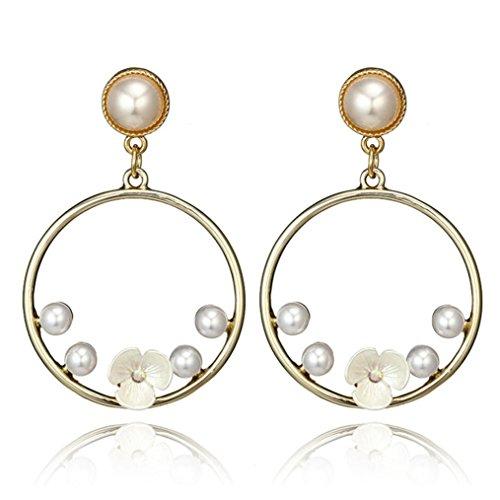 Sunyastor Clearance! Women Drop Dangle Earring Pom Large Hoop Earrings Chain Jewelry Gift Jewelry Girls (White) -
