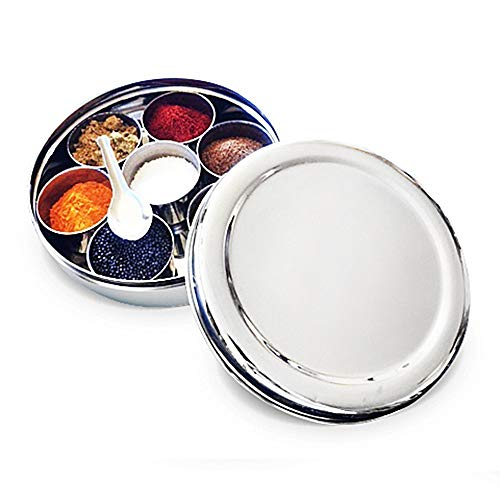 Stainless Steel Masala Dabba, Stainless Steel Spice Box,Stainless Steel Masala Box Storage/Spice Container Box,Stainless Steel Masala Box,Valentine Day Gifts
