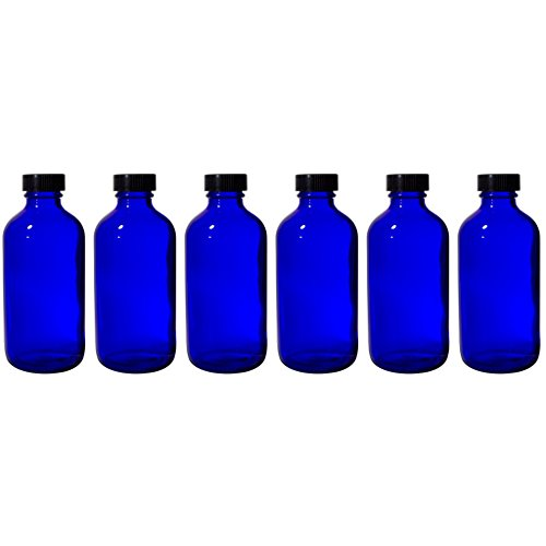 8 oz Cobalt Blue Glass Boston Round Bottle with Black Phenolic Cone Lined Caps (6 Pack)
