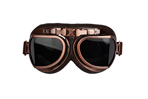 - Retro Aviator Style Motorcycle goggle Helmet Eyewear T08 - Limited Edition Colors (Smoke Lens/Brown Padding/Copper Frame)