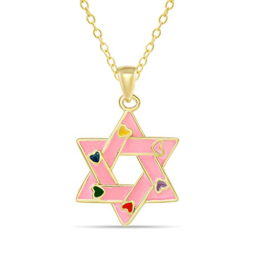 - Lily Nily Star of David Pendant Necklace for Girls 18K Gold Overlay (Pink)