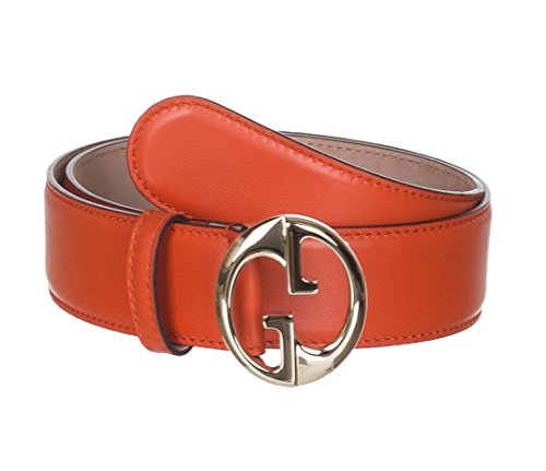 Gucci Women's Orange Leather Interlocking GG Buckle Belt, 36, Orange by Gucci