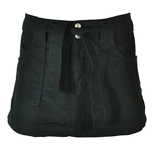 Molecule Women's Belted Adventurer High Waist Black Cargo Skirt - Cotton, Funky Built-in Belt | USA 2/S (Tag S) Black