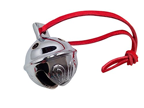 Authentic Silver Chrome Polar Sleigh Bell #4 From Santa's Sleigh W Velvet Sack Express From the - Velvet Santa Harness Red