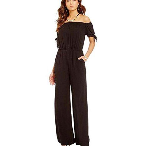 lis Fil de Les XL Femmes Mode Pantalons Jumpsuit Bretelles Taille Corde Poignets Pantalons Noir Neige sans Taille Couleur XIAOXAIO wPwqX