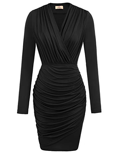 Women's Stretchy Unique Cross Wrap Casual Office Pencil Dress XL Black