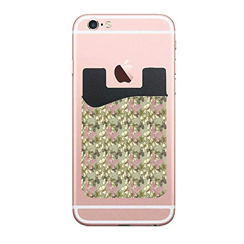 CardlyPhCardH Blooming Flowers Botanical Tones with Pastel Butterflies Nature Pattern Credit Card Double Secure Holder Stick on Wallet ID Holder Card Sleeves 2 PCS