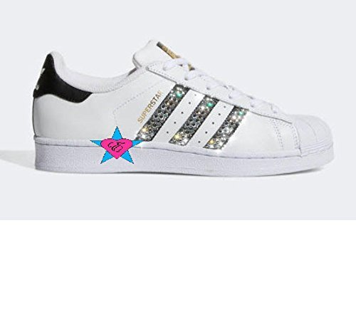 Crystal Glitter White ORIGINALS SUPERSTAR SHOES by Eshays