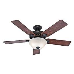 Hunter 53250 Pro\'s Best 52-Inch 5-Blade Single Light Five Minute Ceiling Fan, New Bronze with Dark Cherry/Medium Oak Blades