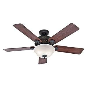 Hunter 53250 Pro's Best 52-Inch 5-Blade Single Light Five Minute Ceiling Fan, New Bronze with Dark Cherry/Medium Oak Blades