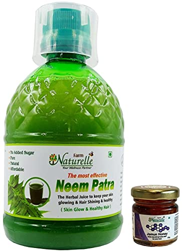 Farm Naturelle  Farm Natural Produce  1 Herbal Neem Patra Juice/Ras+The Finest 400 ml Skin Care and Blood Cleaning and Free Jamun Honey 55g x 1