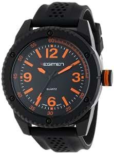 Wrist Armor Men's RW1021 Black Analog Watch with Black Dial and Orange Markings
