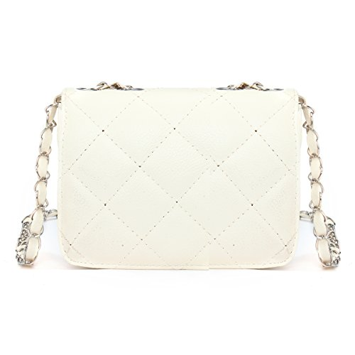 White Off Crossbody Clutch PU Bag Mini Chain with Body Shoulder Quilted OURBAG Purse Leather Handbag Evening Cross Bwac1Tx