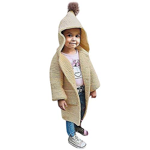 GoodLock Clearance!! Baby Girls Coat Children Kids Solid Hooded Knitted Sweater Cardigan Coat Clothes Pom Pom (Beige, 3T) -