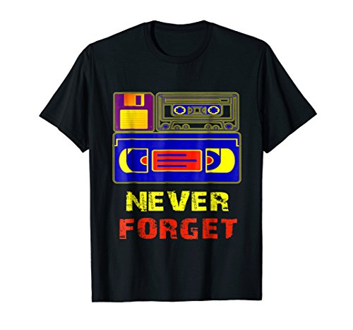 Never Forget Cassette,Floppy Disk and VHS Video Tape T-Shirt