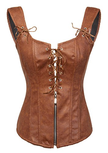 Bslingerie Womens Black Faux Leather Wetlook Bustier Corset (XXL, Brown) -