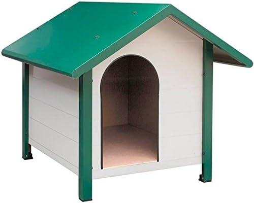Caseta para Perros galvanizada, lacada Verde y Blanca. Medidas ext. 80x83x75 cm. Medidas INT. 54x54x65 cm Util para Perros medianos pequeños