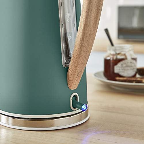 Swan Nordic Set petit-déjeuner bouilloire 1,7 L 2200 W, grille-pain large 4 tranches, micro-ondes 20 L numérique, design moderne, effet bois, vert mat