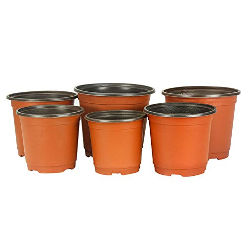 SCAU 50 Pack 4/6 / 8 Inch Round Plastic Planting Pots Flower Seedlings Nursery Supplies Grow Pot/Planter/Flower Pot Container (8'' & 50 Pack)